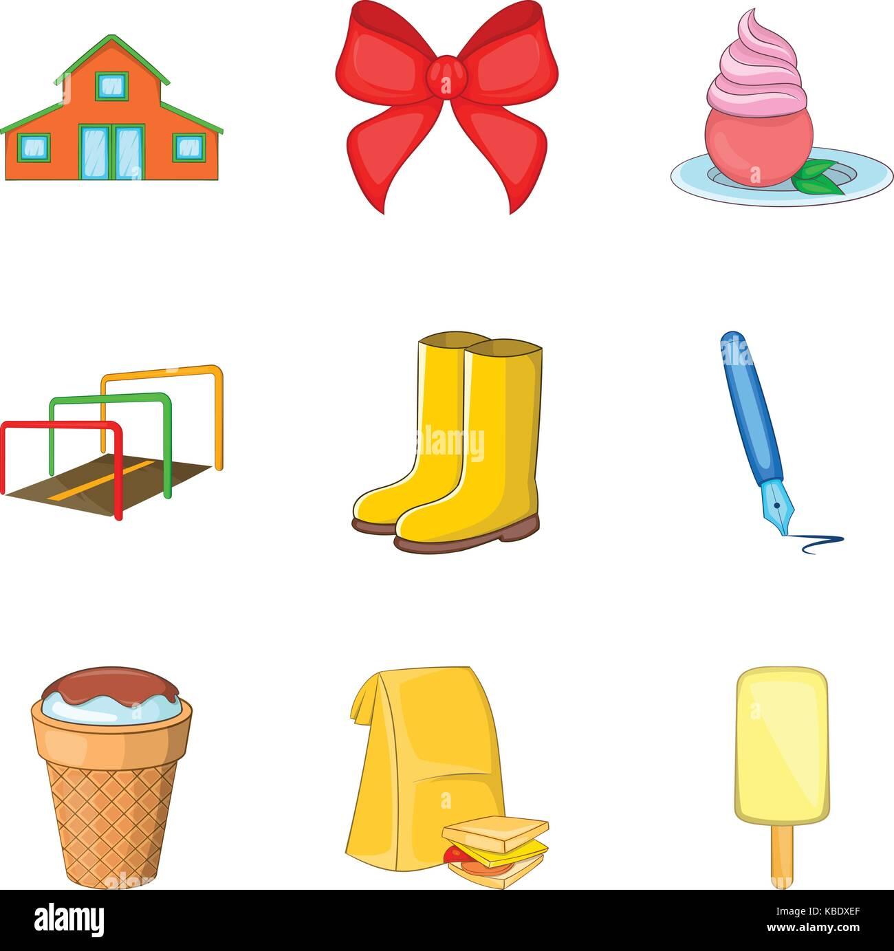 Grandchild icons set, cartoon style - Stock Image