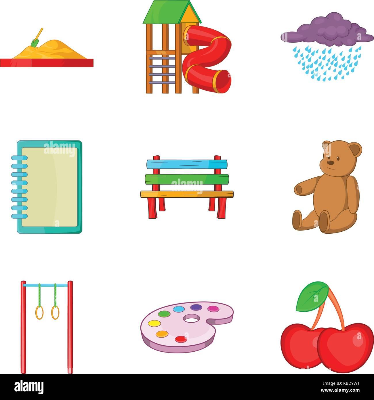 Meeting children icons set, cartoon style - Stock Image