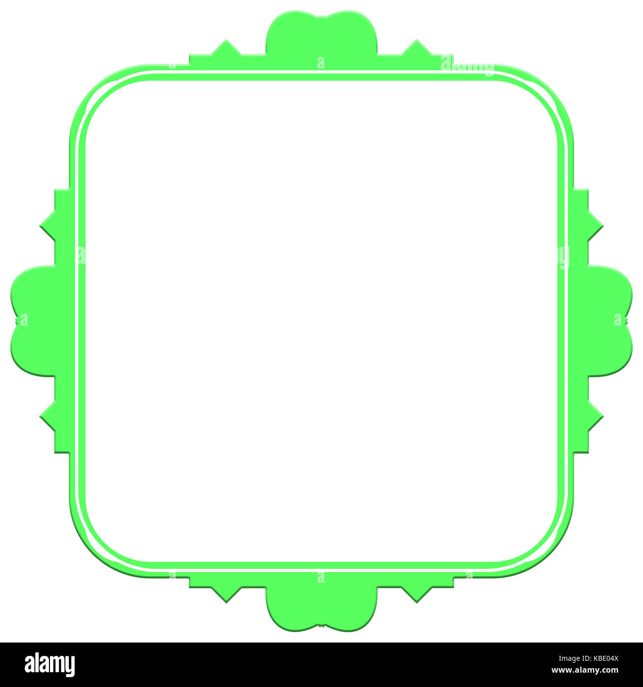 Vintage green frame on a white background - Stock Image