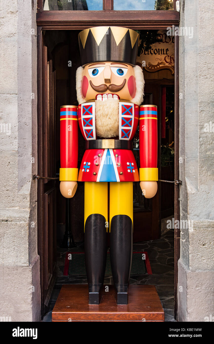 nutcracker toy soldier outside kathe wohlfahrt christmas store rothenburg ob der tauber bavaria