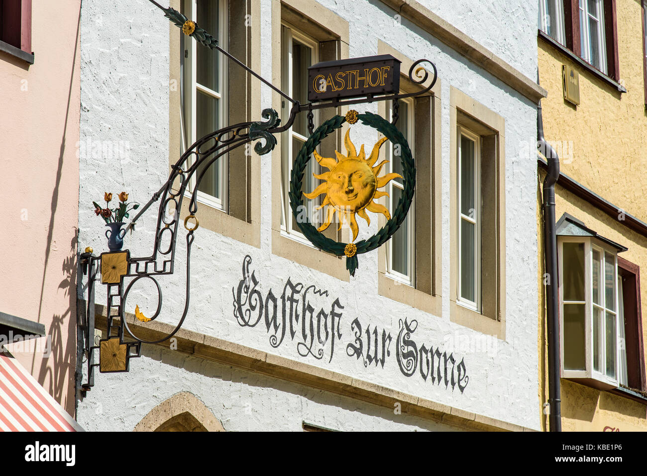 Typical wrought iron sign outside a hotel, Rothenburg ob der Tauber, Bavaria, Germany - Stock Image