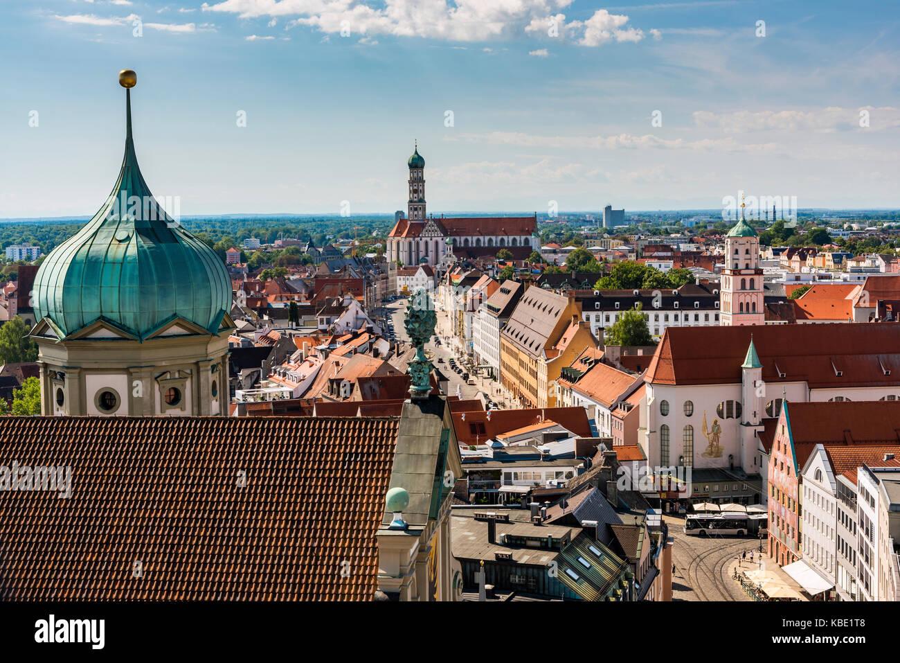 City skyline, Augsburg, Bavaria, Germany - Stock Image