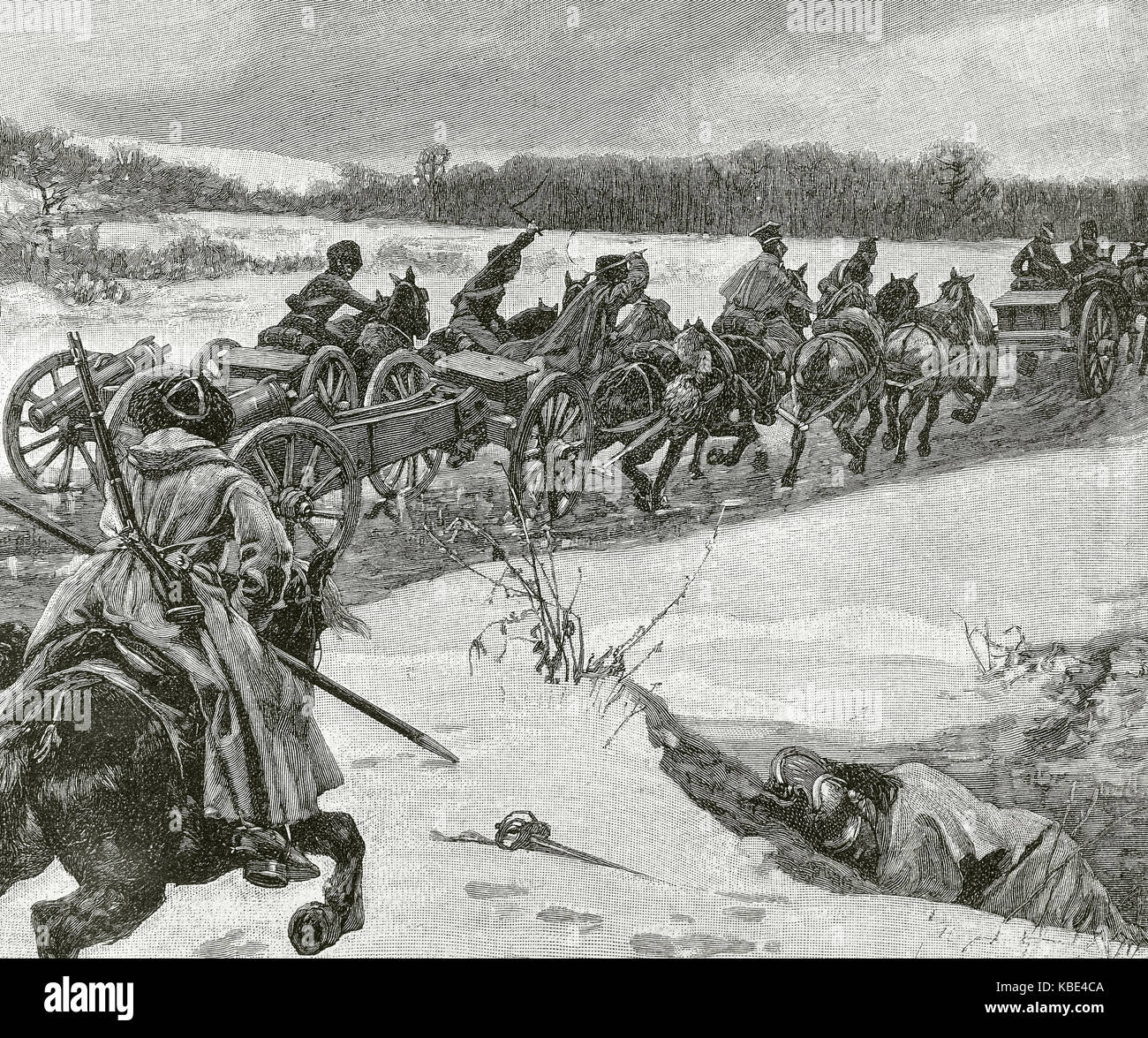 Napoleonic Wars (1803–1815). Retreat of the Napoleonic armies of the Russian front in the winter of 1813. Engraving. - Stock Image