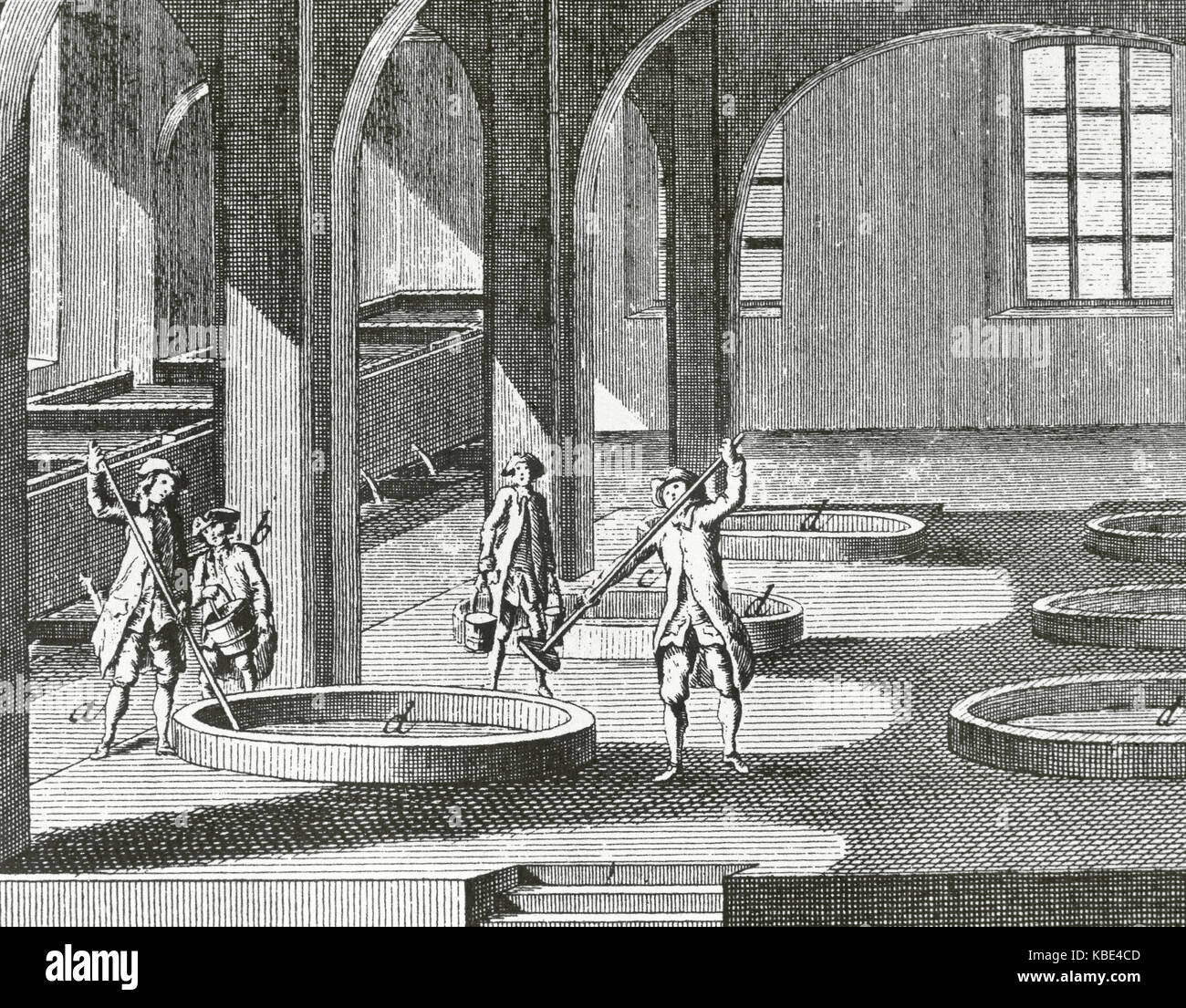 Soap factory. Mixing process. 18th century. Encyclopedie by Diderot et d'Alembert. Engraving. - Stock Image