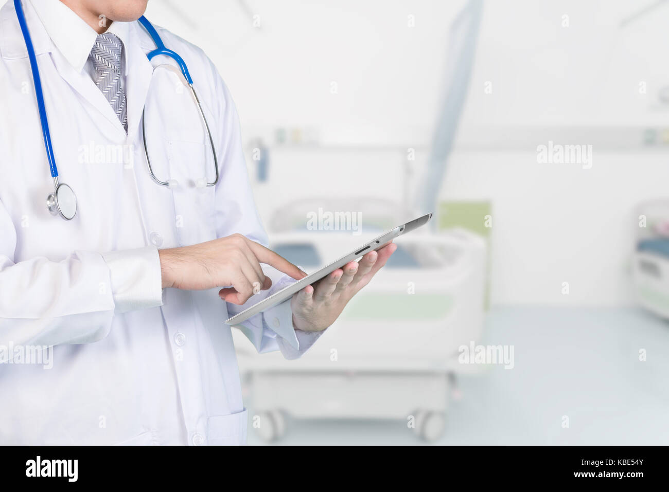 Doctor using digital tablet contact with patient. Concepts of 4.0 technology communication. copy space. - Stock Image