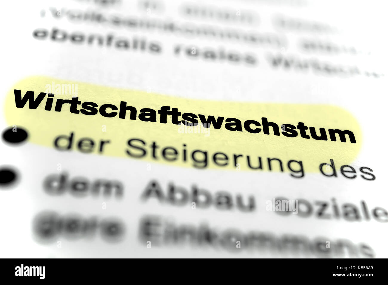 Text on page Economic Growth highlight horizontal closeup Stock Photo