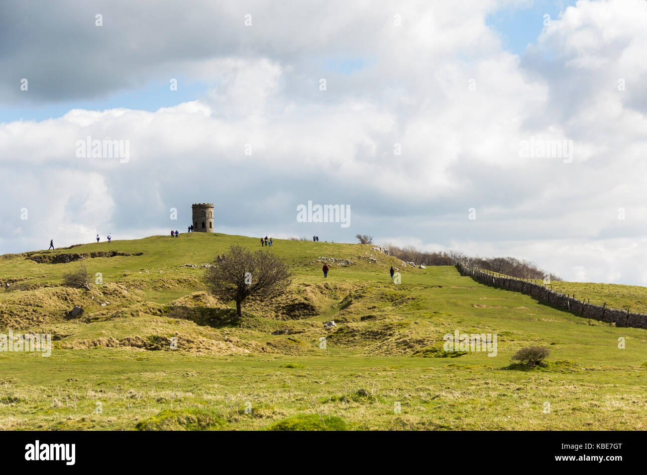 Buxton, UK. 2nd April 2017. Visitors in and around the Victorian folly tower known as Solomon's Temple on Grin - Stock Image