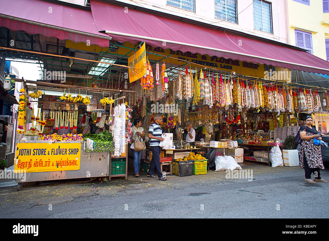 Row of shops in Little India, centre of the city's large Indian community and one of its most vibrant districts. Stock Photo