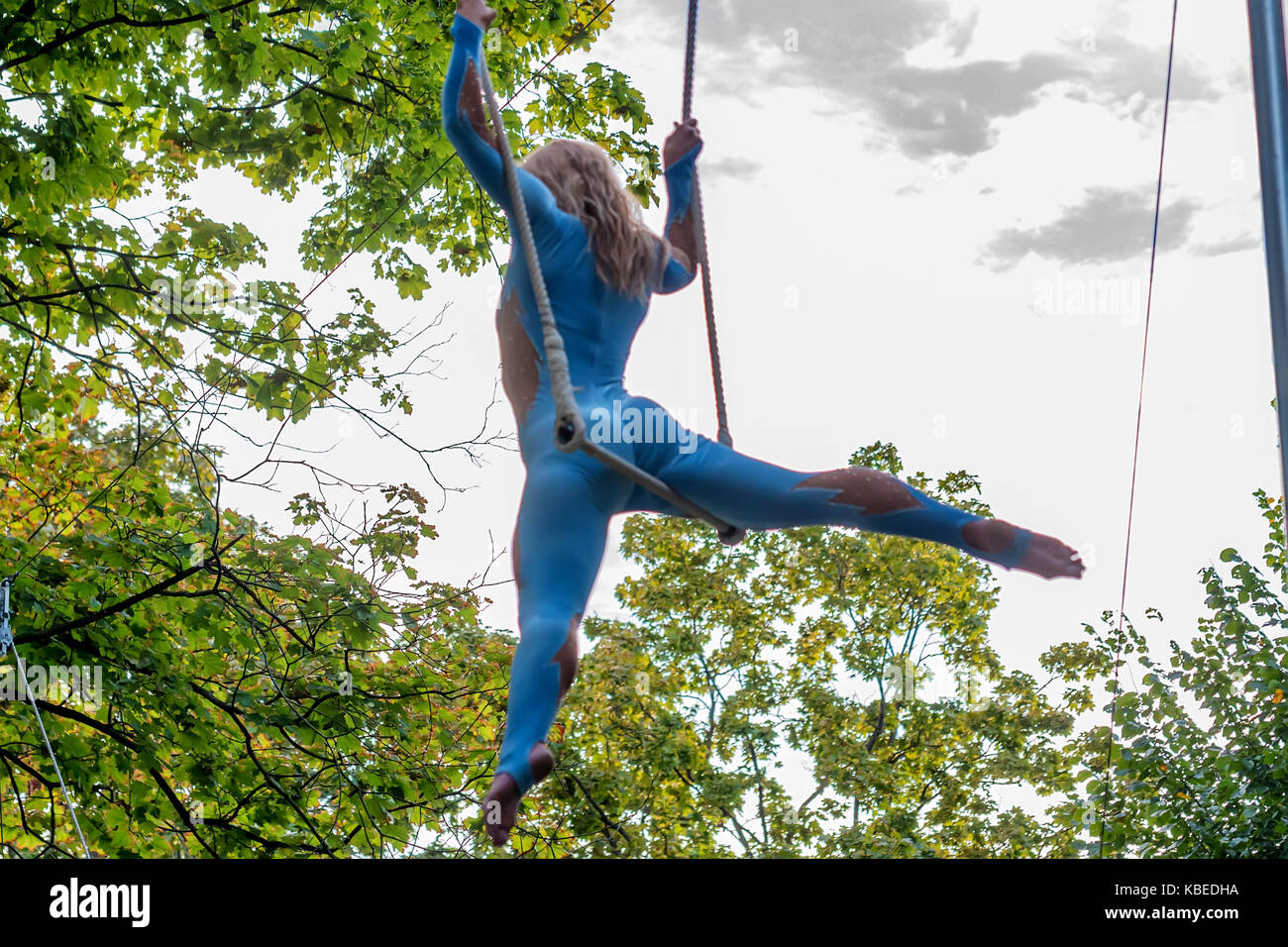 Back view young attractive female trapeze artist - Stock Image