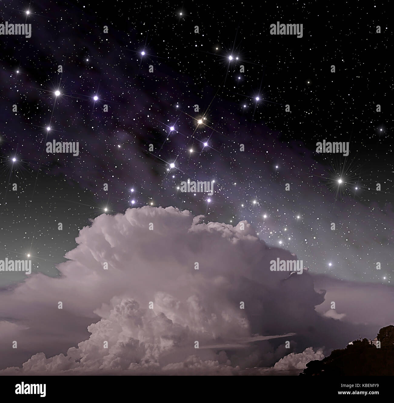 Constellation of Southern Cross above cumulonimbus clouds - Stock Image