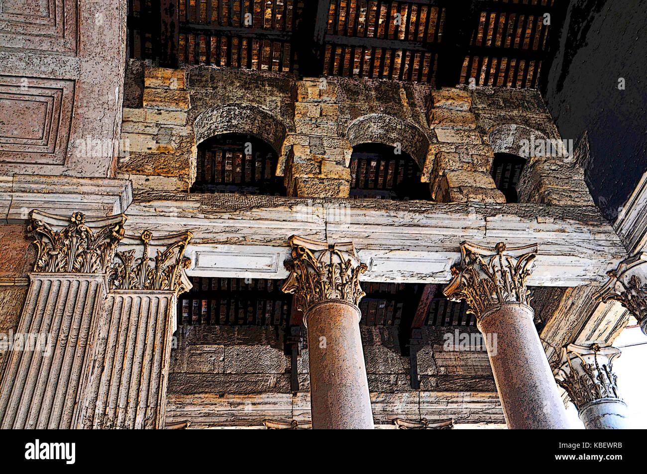 The Pantheon Corinthian Columns, Rome, Italy - Stock Image