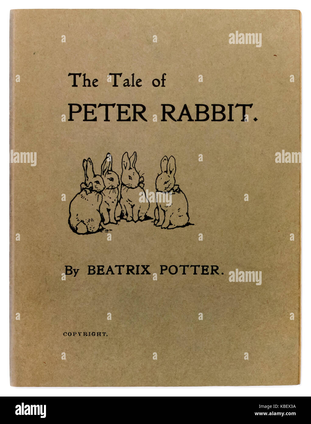 'The Tale of Peter Rabbit' by Beatrix Potter (1866-1943). Photograph of front cover of one of 250 copies privately - Stock Image