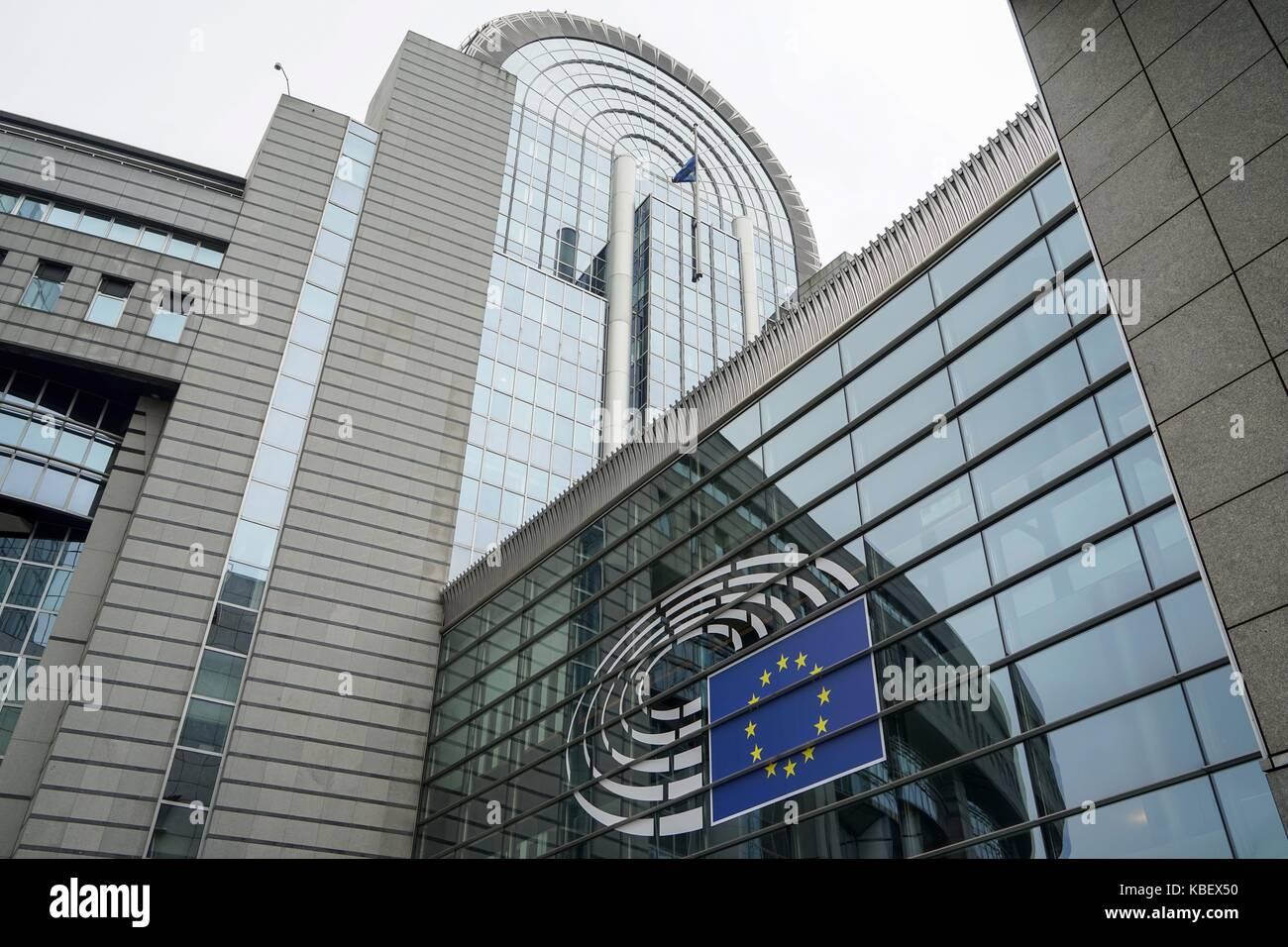 Belgium: EU logo at European Parliament in Brussels. Photo from 12. August 2017. | usage worldwide Stock Photo