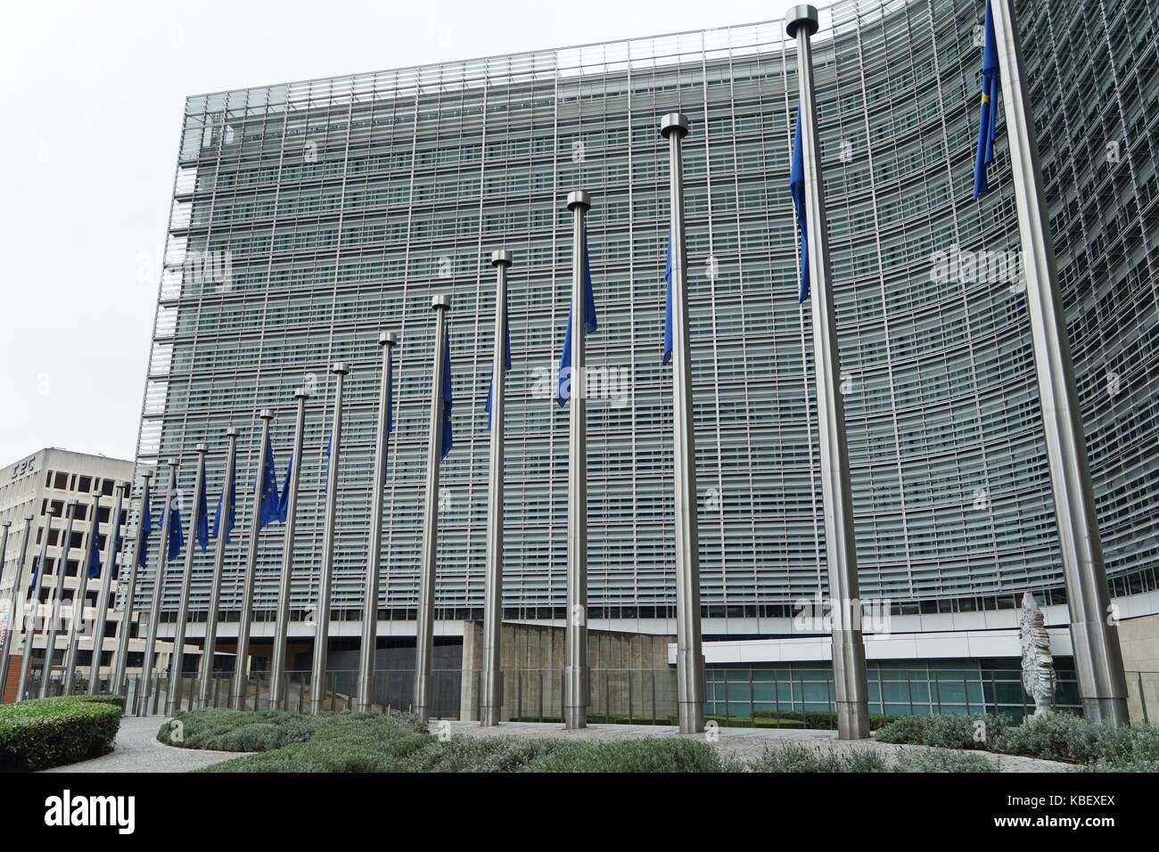Belgium: European flags in front of European Commission in Brussels. Photo from 12. August 2017. | usage worldwide Stock Photo