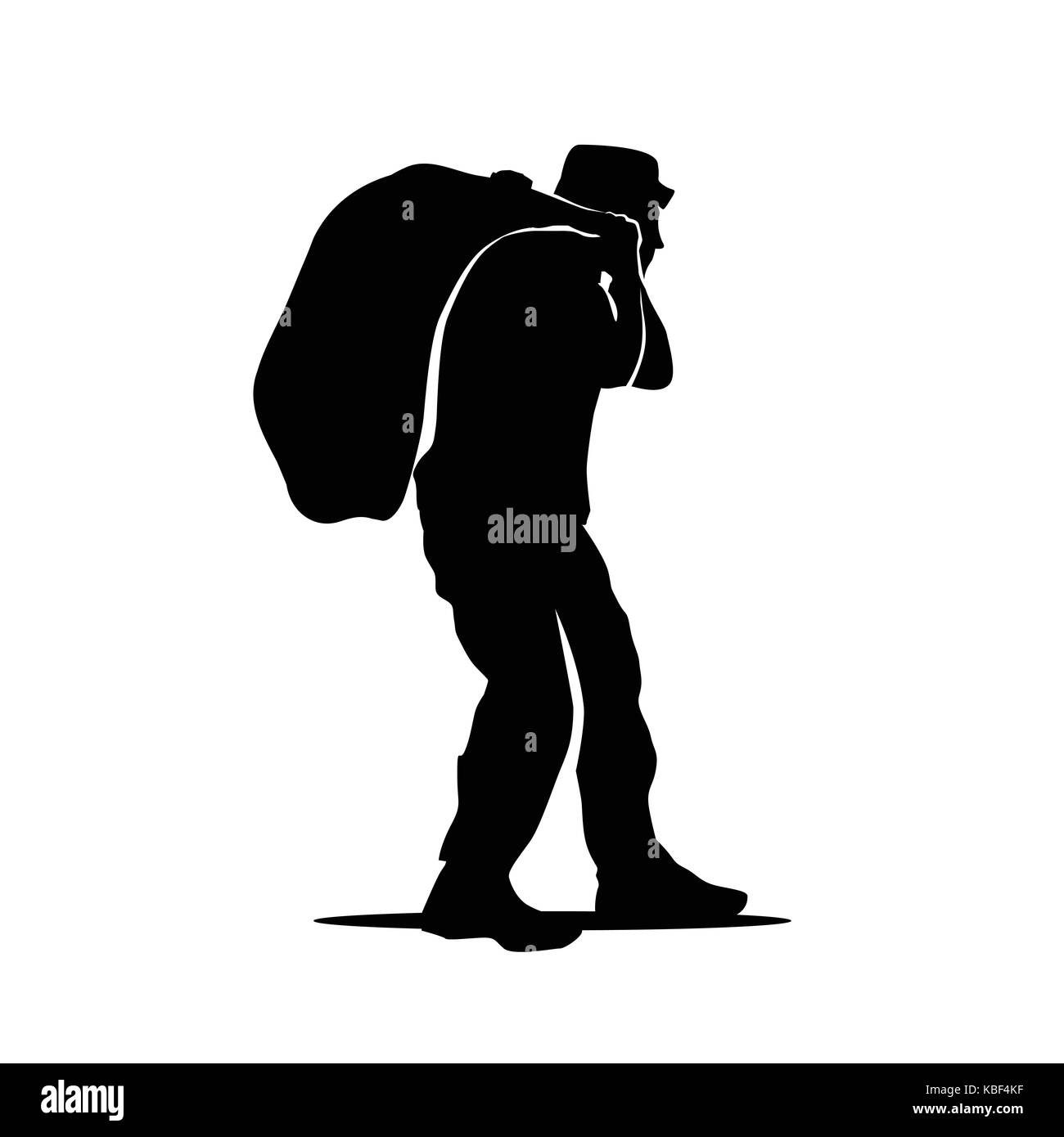 old man holds bag silhouette, a poor man holds bag, illustration design, isolated on white background. - Stock Image