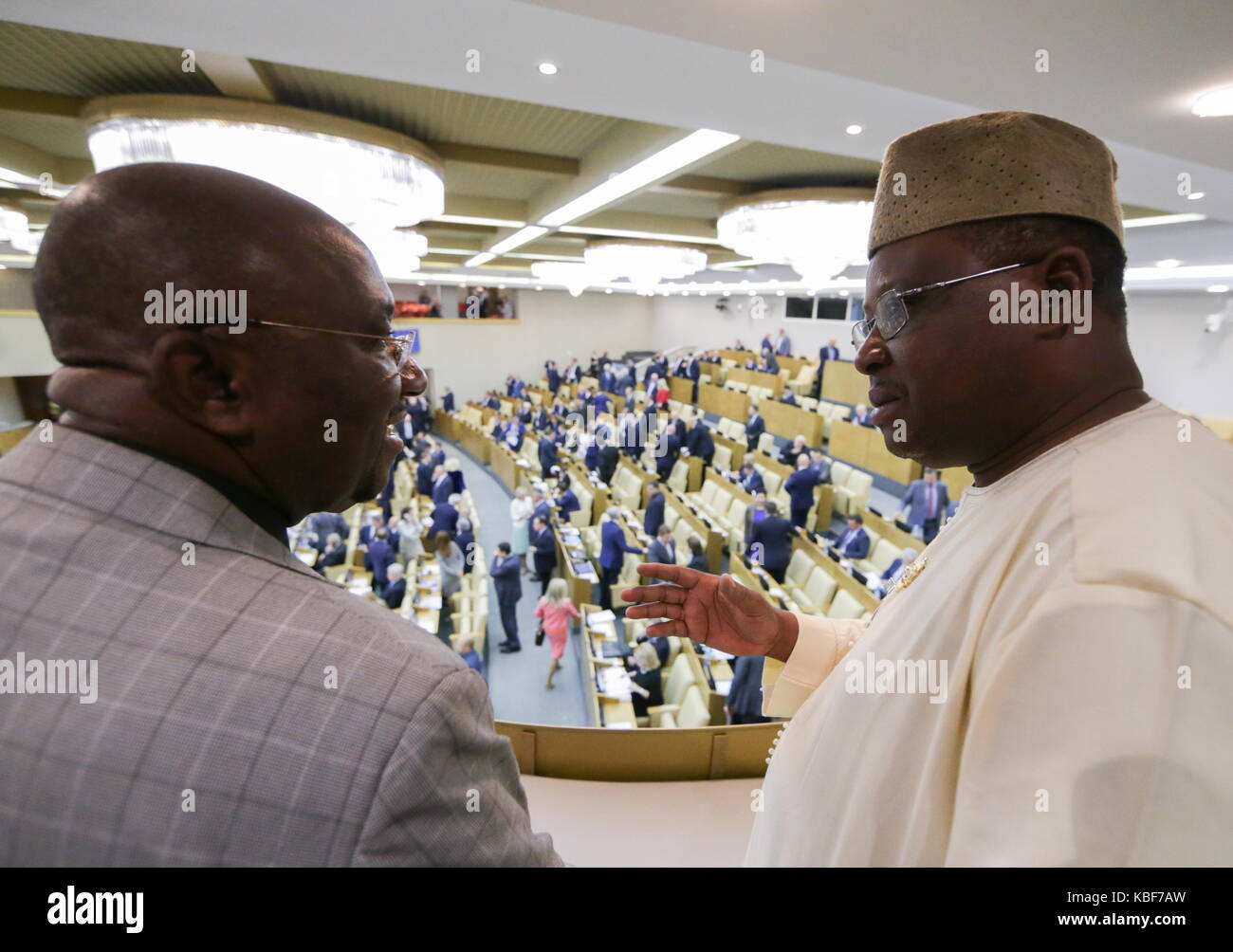 Moscow, Russia. 29th Sep, 2017. Guinean National Assembly members at a plenary meeting of the State Duma, Lower - Stock Image