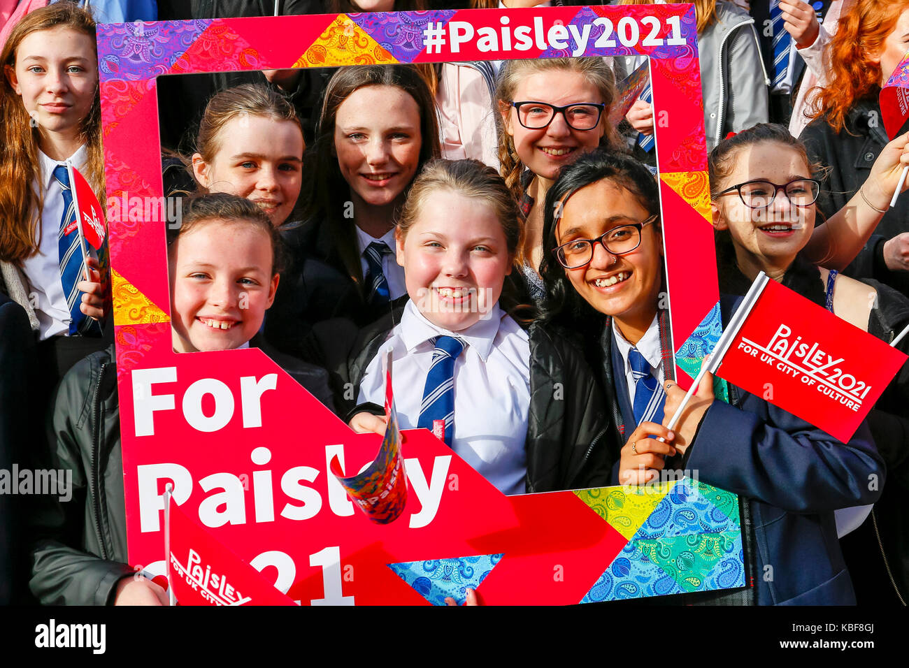 Renfrewshire, UK. 29th Sep, 2017. Paisley officially launched its bid to be City of Culture 2021 by holding a street - Stock Image