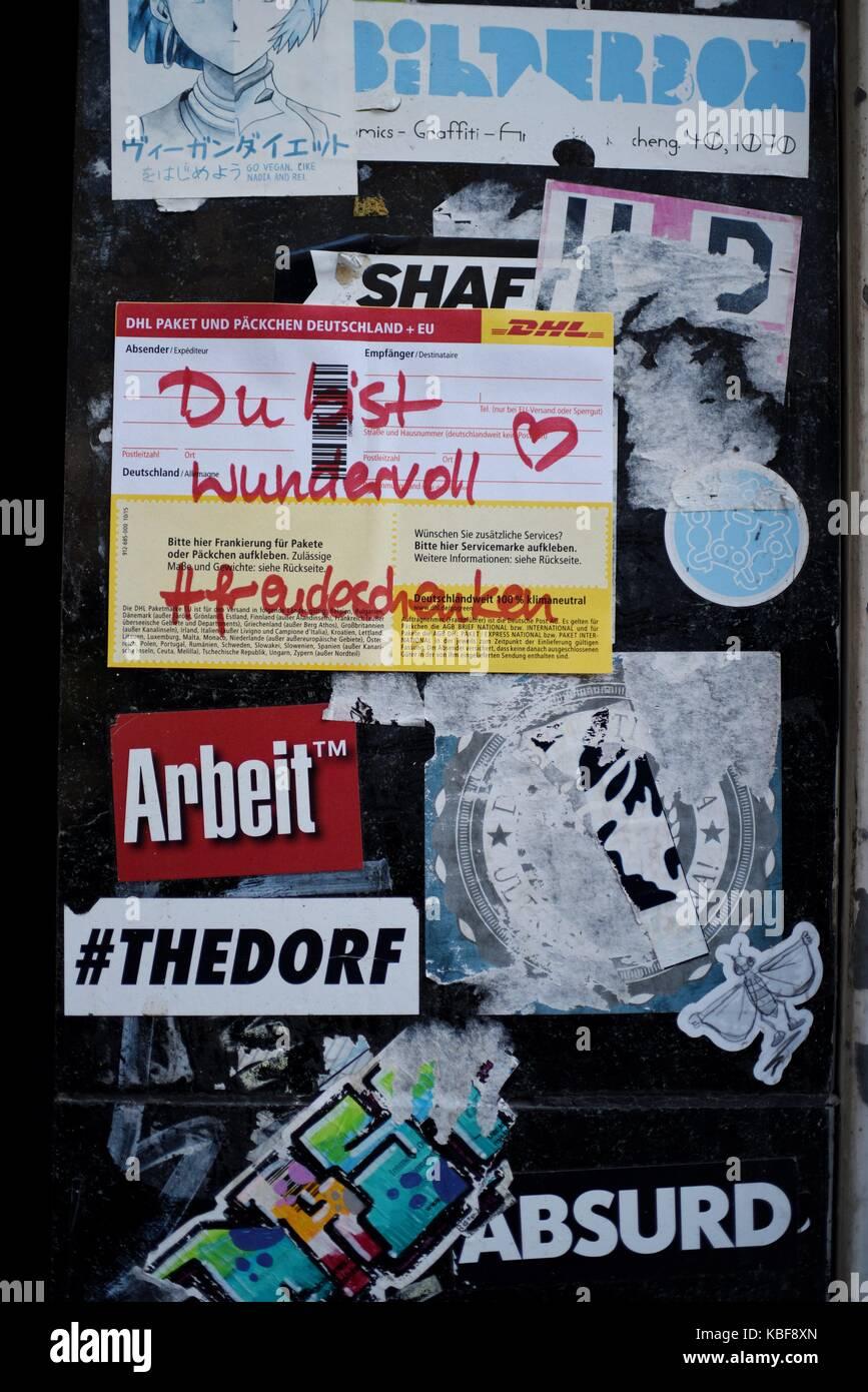 Stickers On A Wall Germany City Of Düsseldorf 27 September 2017