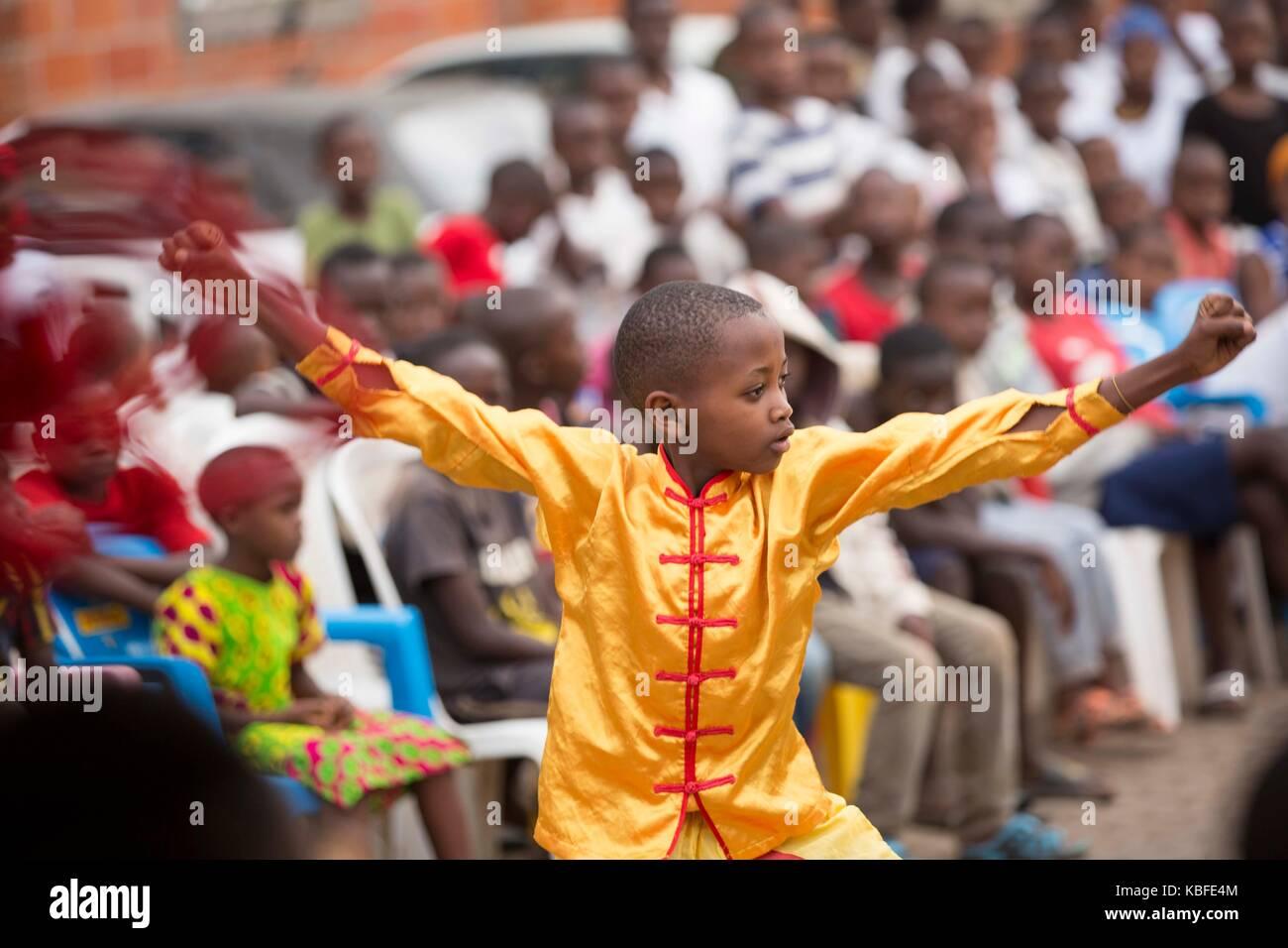 Kigali, Rwanda. 29th Sep, 2017. A Rwandan boy performs martial arts in the community of Nyamirambo Sector in Kigali, - Stock Image