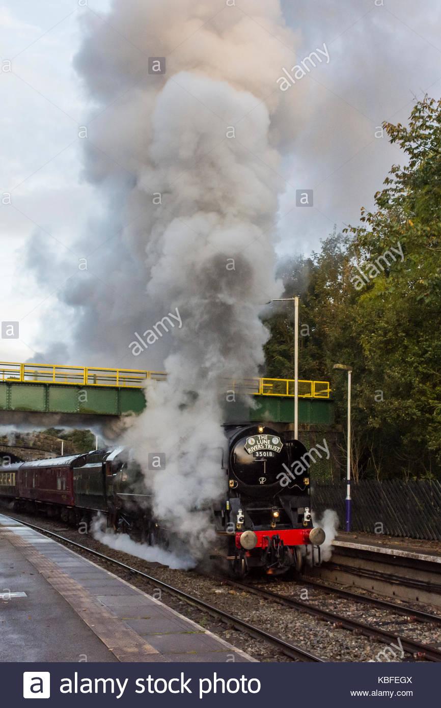Wennington, Lancashire, UK, 30 September 2017, 35018, 'British India Line' locomotive, pulling the Lune - Stock Image