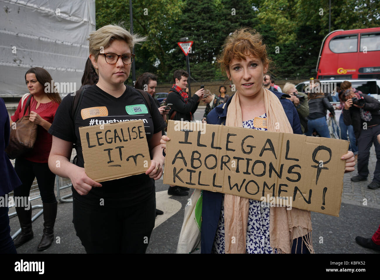 London, England, UK. 30th September 2017.  Hundreds of Pro-abortion campaigners hold a protest to demand abortion Stock Photo