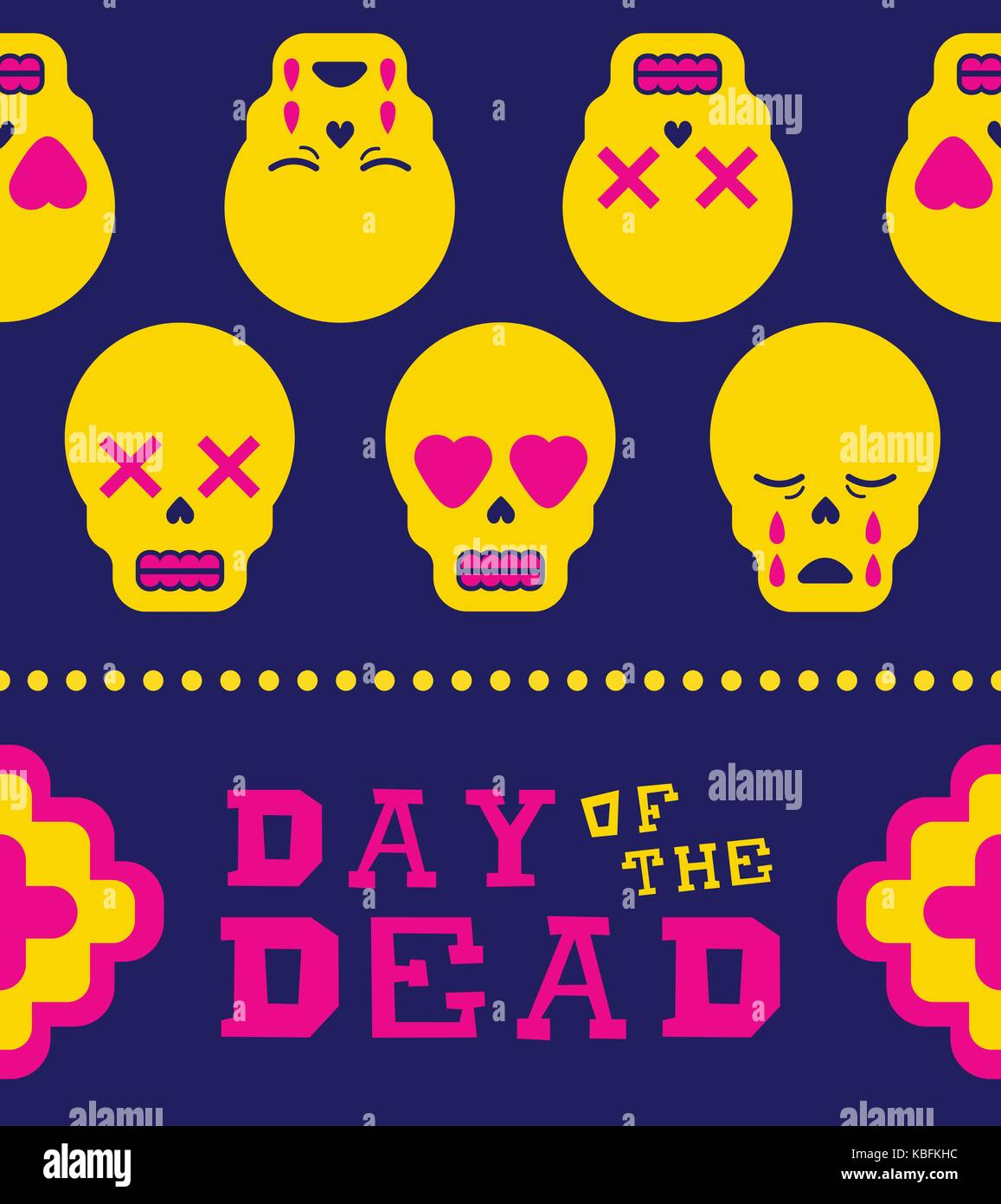 Mexican day of the dead traditional holiday illustration seamless