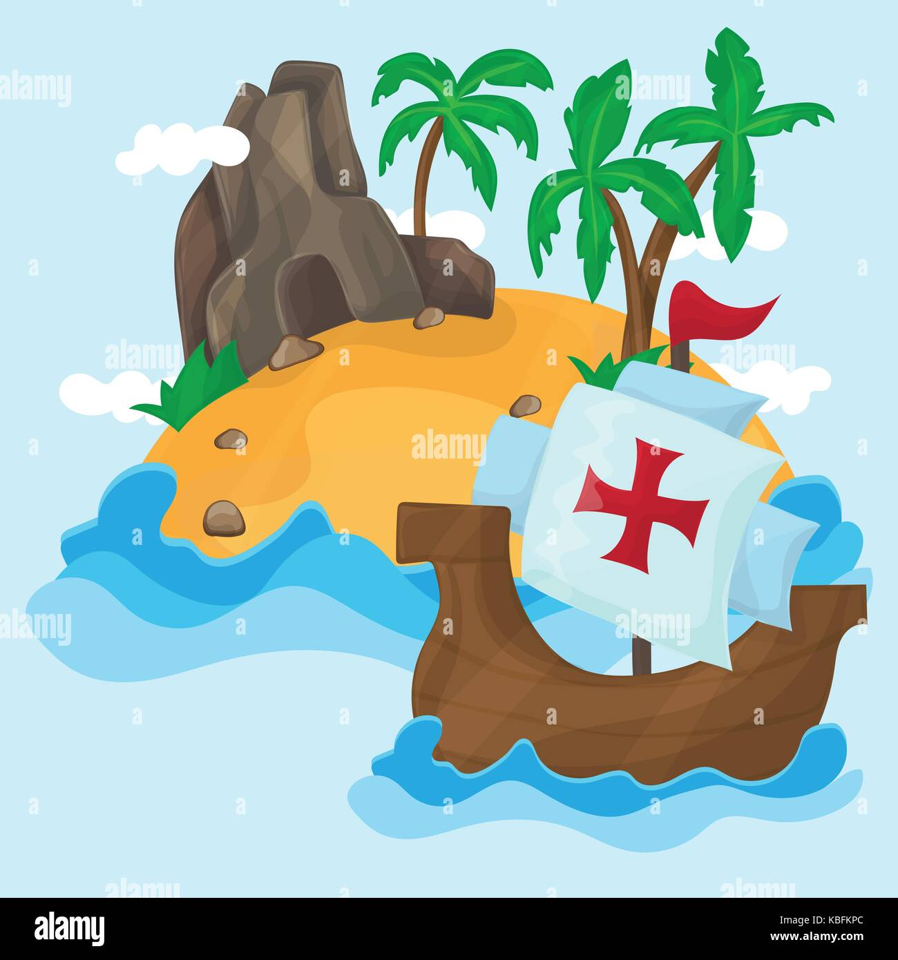 The ships of Christopher Columbus and Tropical Island with palms in ocean - Stock Vector