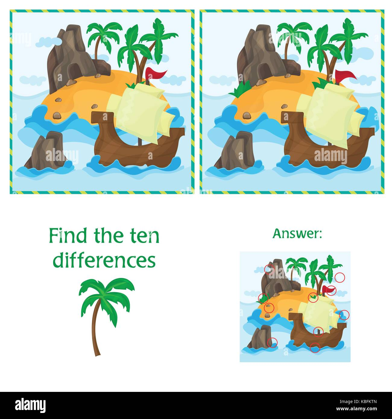 Find the ten differences between the two images with Island and Ship - Stock Vector