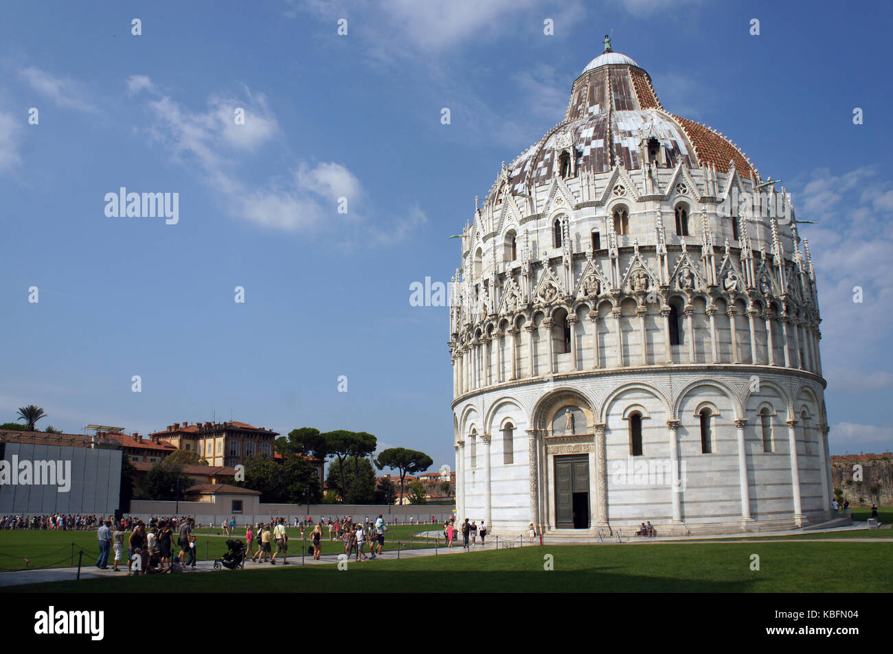 Baptistery of Piza (Pisa) in the Square of Miracles (Piazza dei Miracoli) in Pisa, Italy Stock Photo