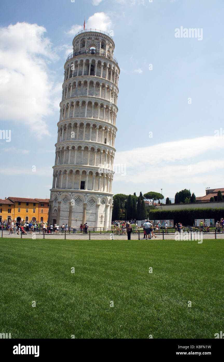 Famous leaning tower in Pisa (Torre pendente di Pisa) - campanille of the cathedral of Assumption of the Virgin - Stock Image