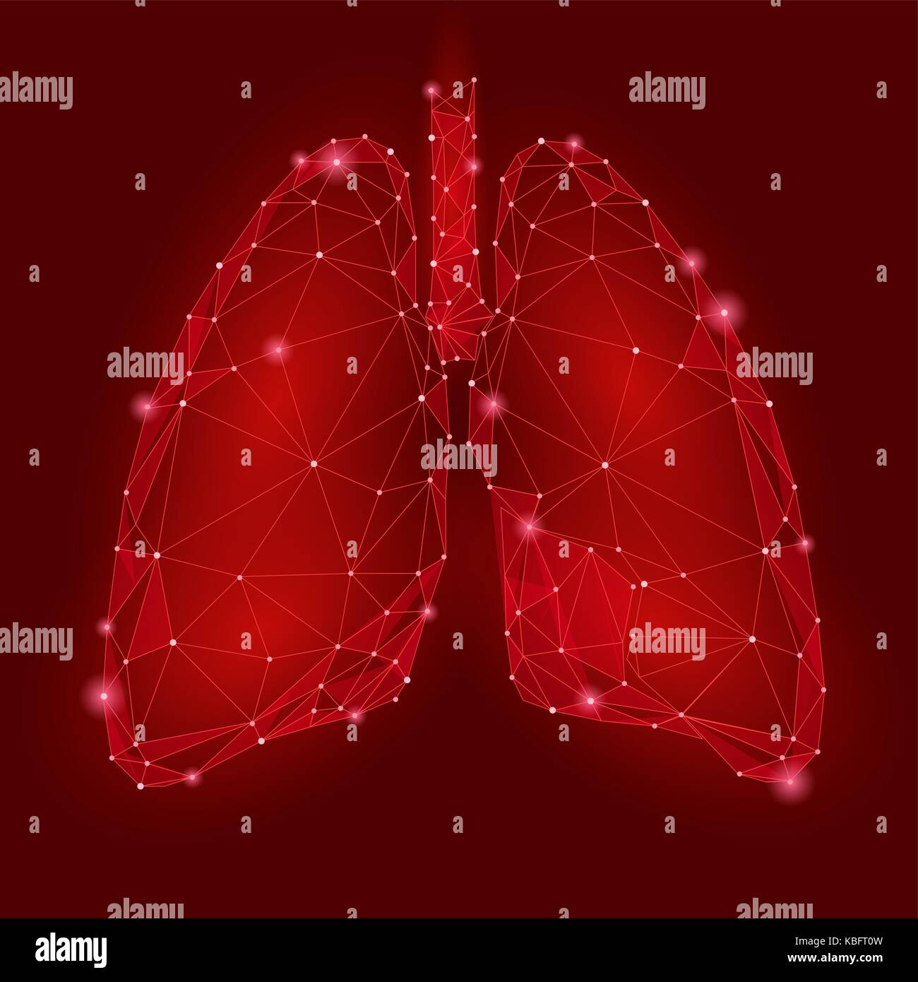Human Internal Organ Lungs. Low Poly technology design. Red color polygonal triangle connected dots. Health medicine - Stock Image