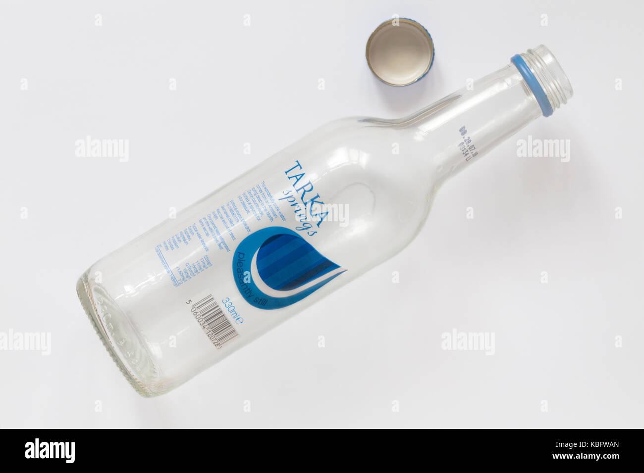 Empty bottle of Tarka Springs pleasantly still water isolated on white background - Stock Image