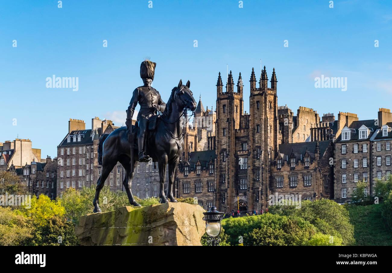 View of The Royal Scots Greys Monument in Edinburgh, Scotland, United Kingdom. Stock Photo
