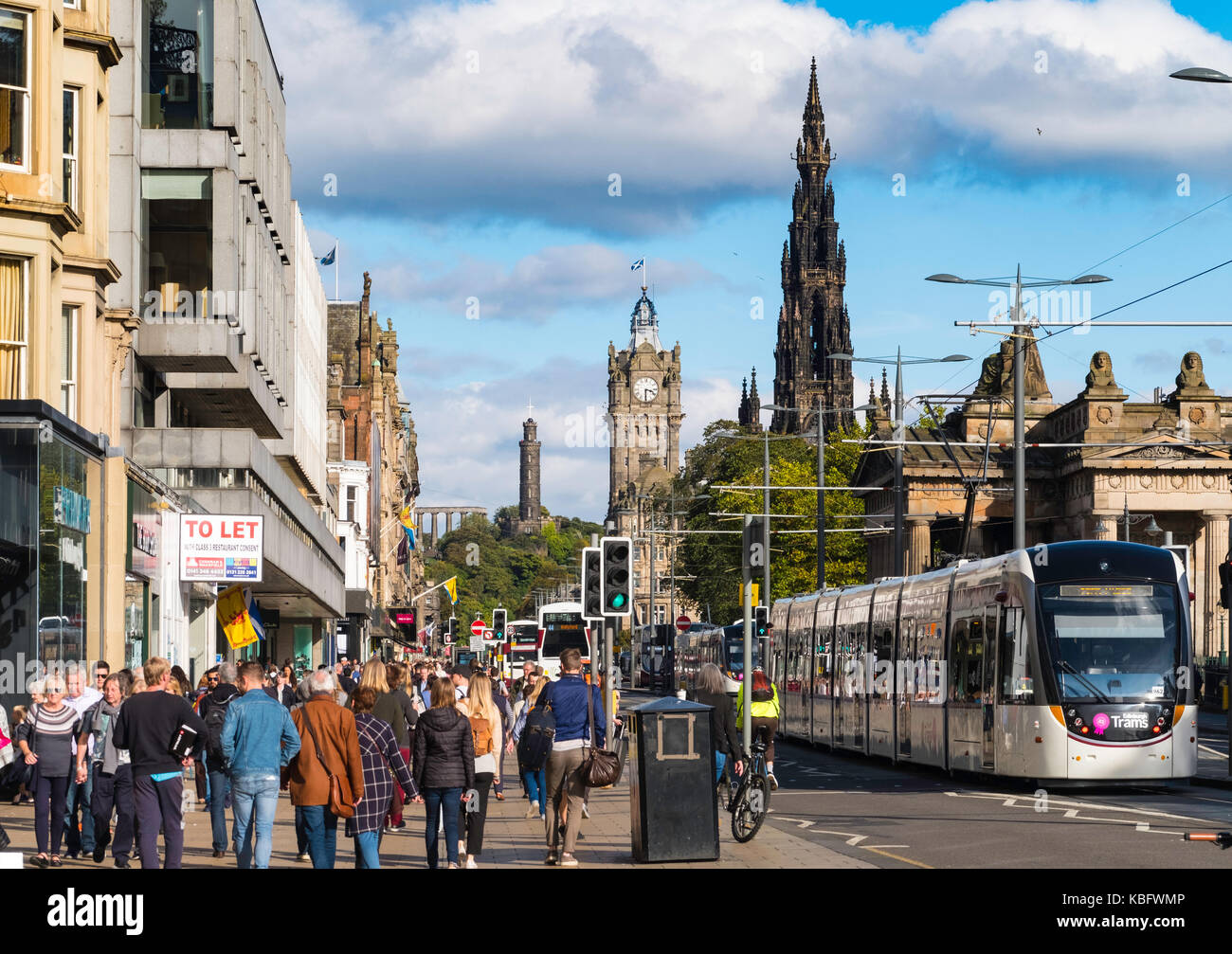 View along busy Princes Street in Edinburgh, Scotland, United Kingdom. - Stock Image