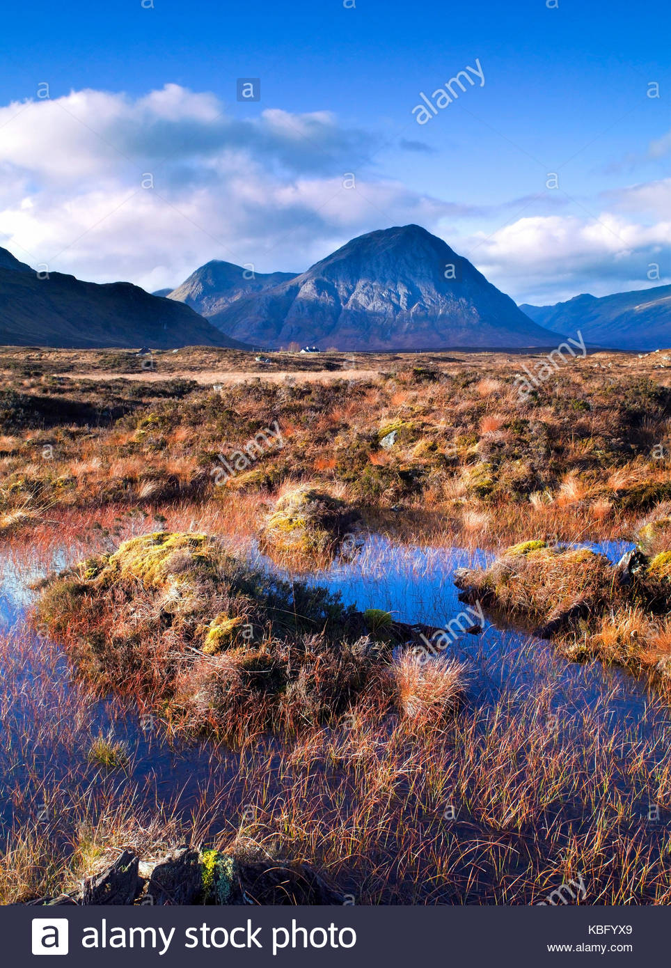 A colourful view across Rannoch Moor of the iconic mountain Buachaille Etive Mor in the Scottish Highlands - Stock Image