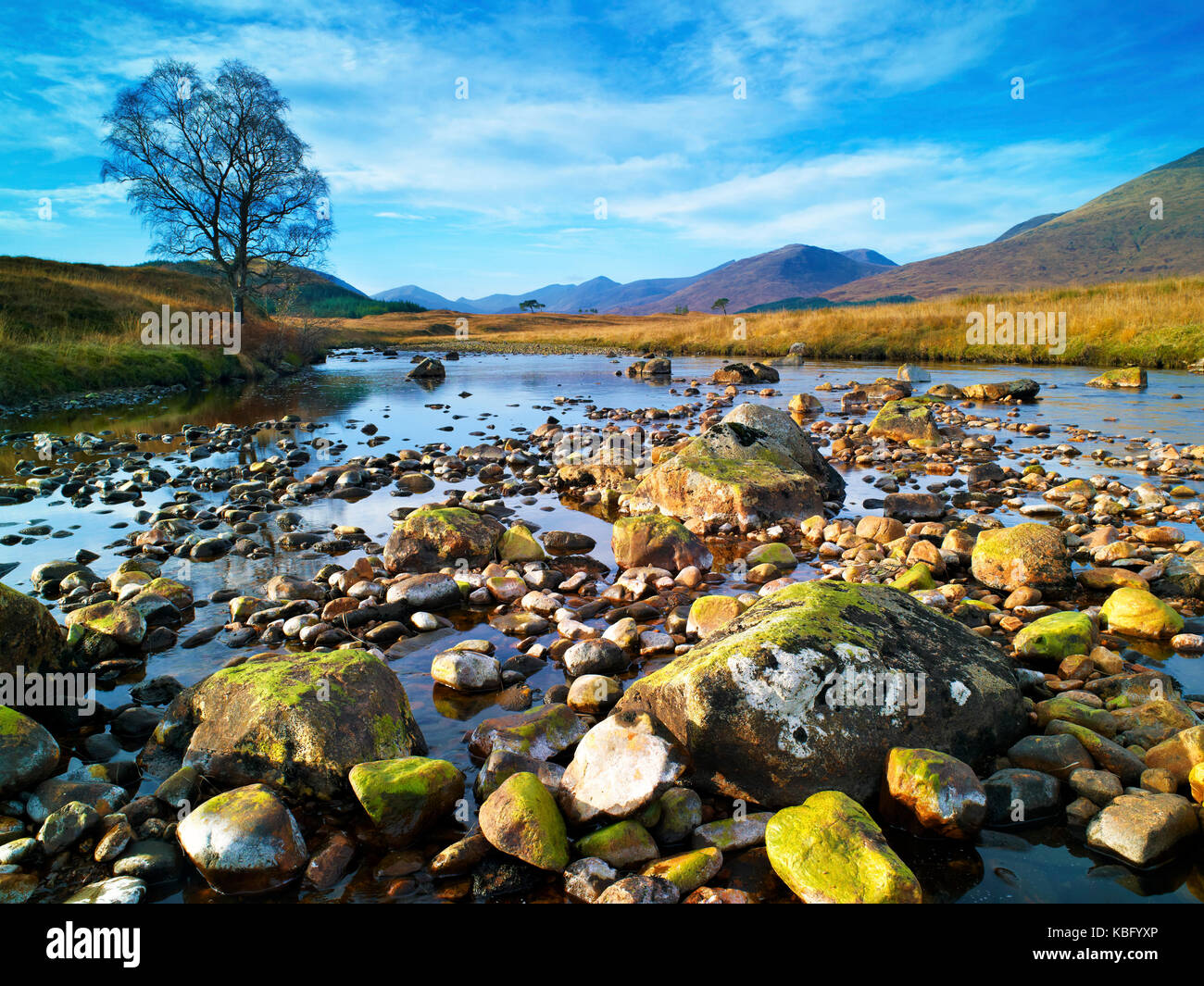 A winter view of the river Abhainn Shira, in the Scottish Highlands, at low water - Stock Image