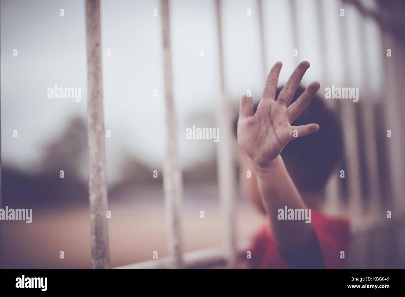 Children trafficking and vtrafficking concept.,focus blur. - Stock Image