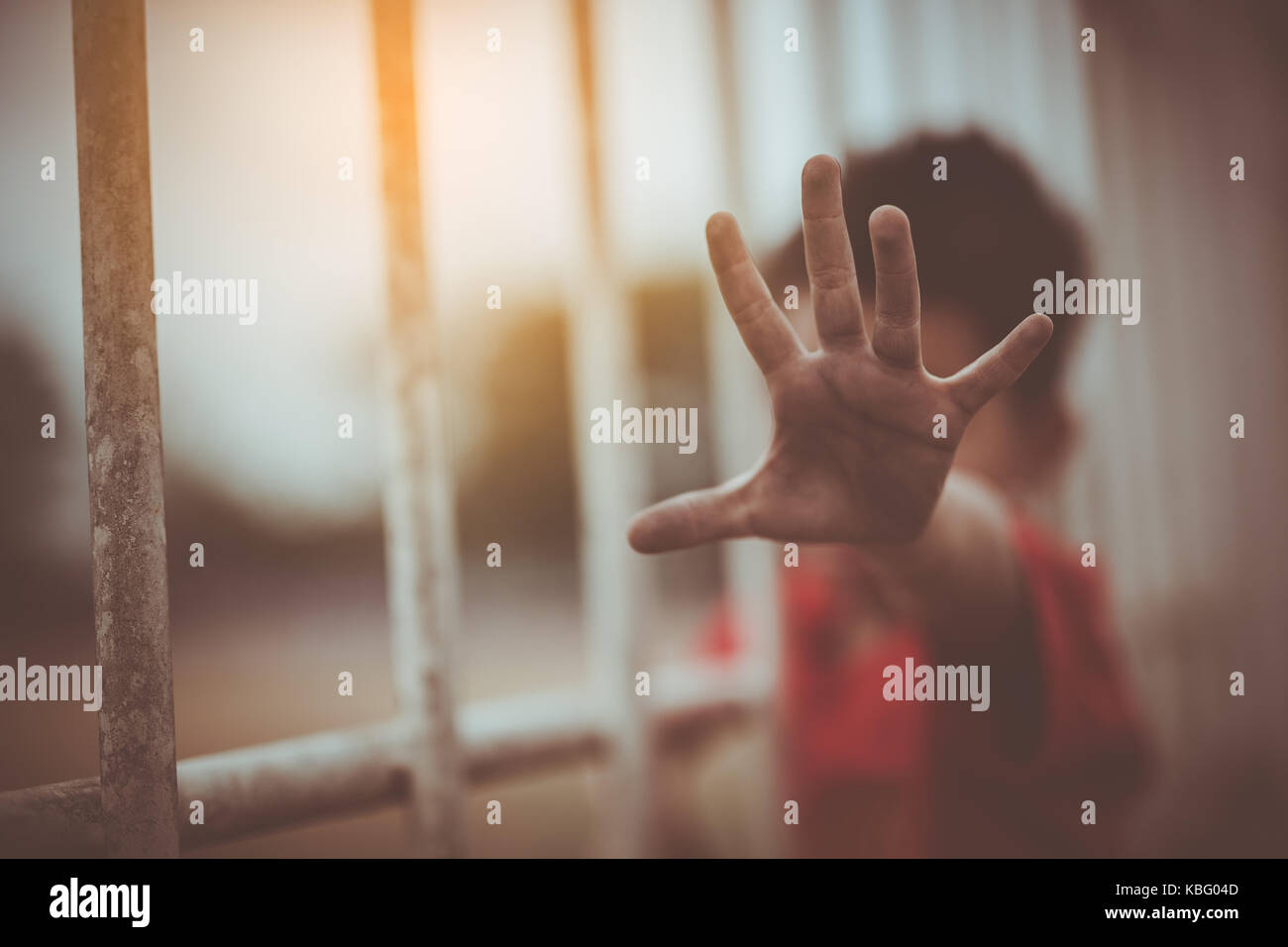 Children trafficking and vtrafficking concept.,focus blur. Stock Photo
