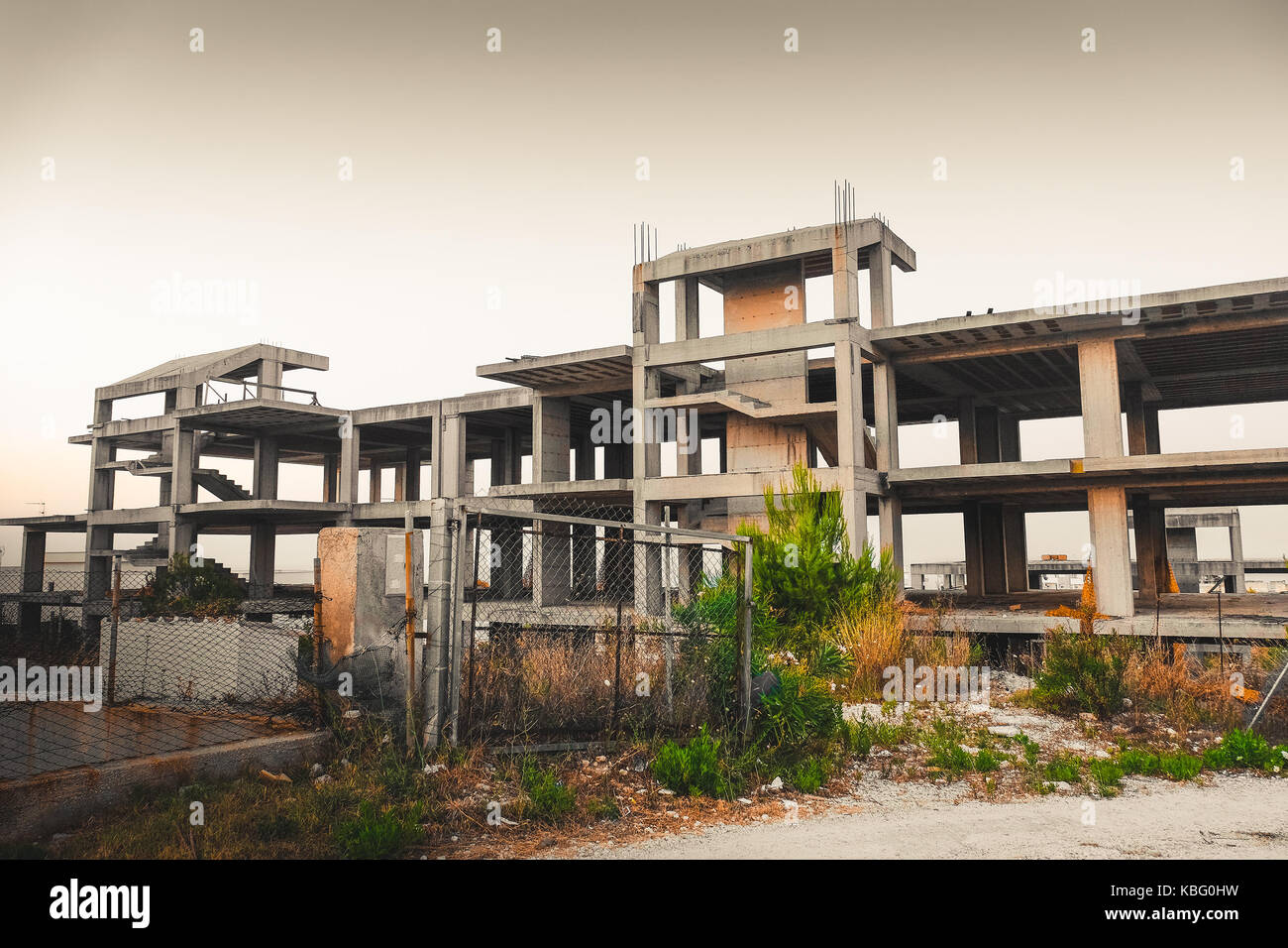 illegal building in Italy - example of italian abuse architecture - Stock Image