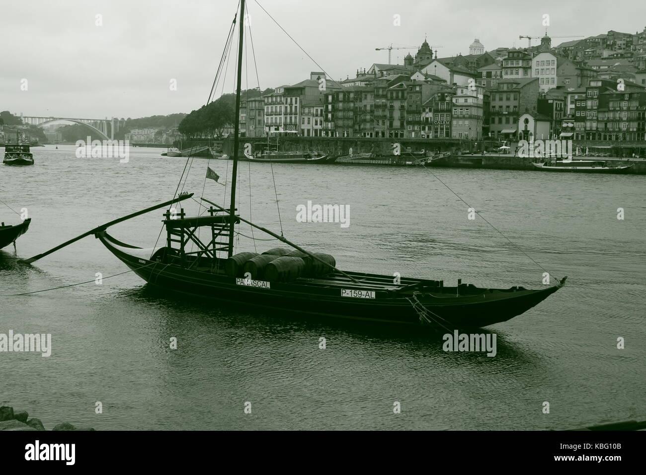 Rabelo Boat in Porto, Portugal Stock Photo