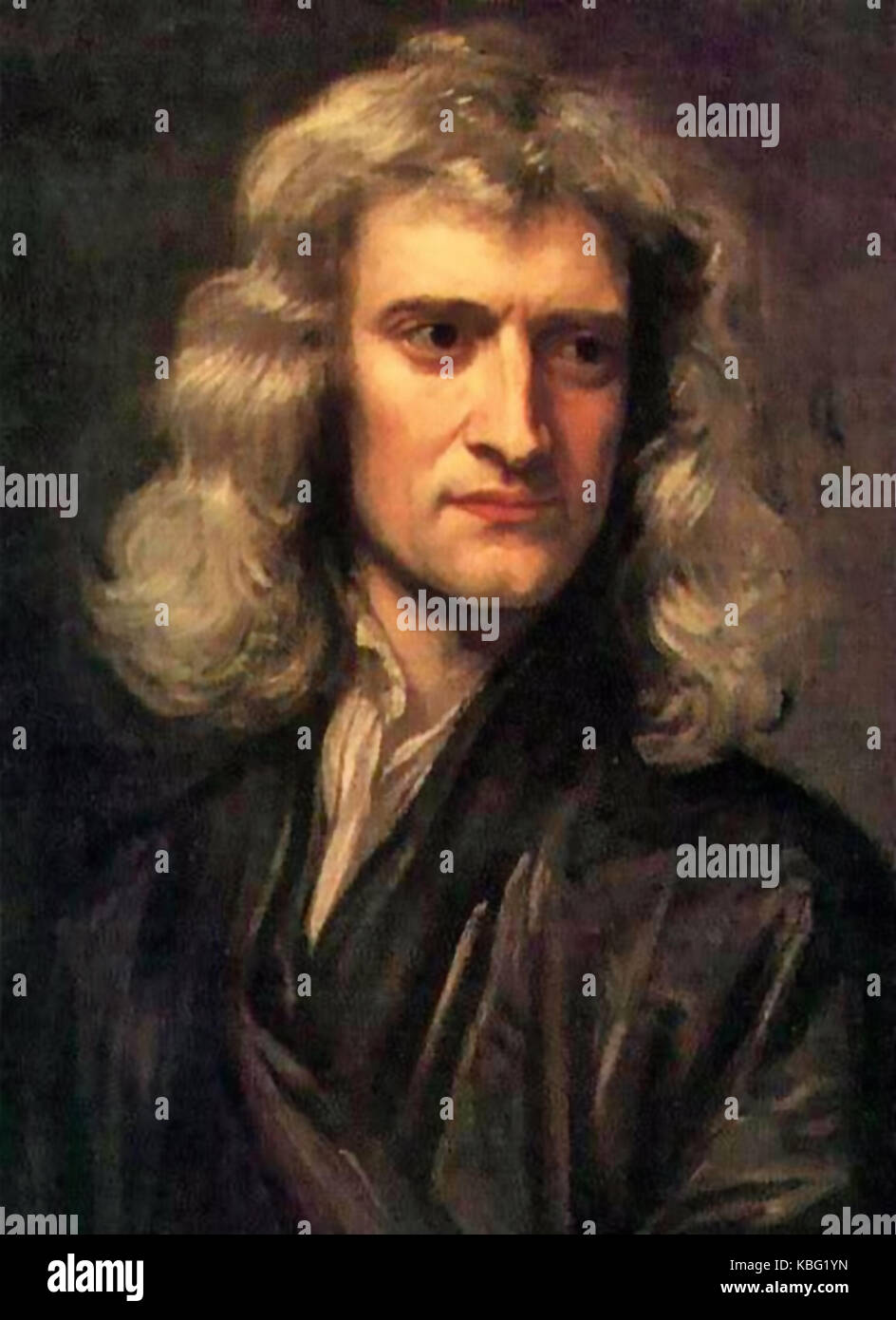 ISAAC NEWTON  (1642-1727) English scientist painted in 1689 by Godfrey Kneller - Stock Image