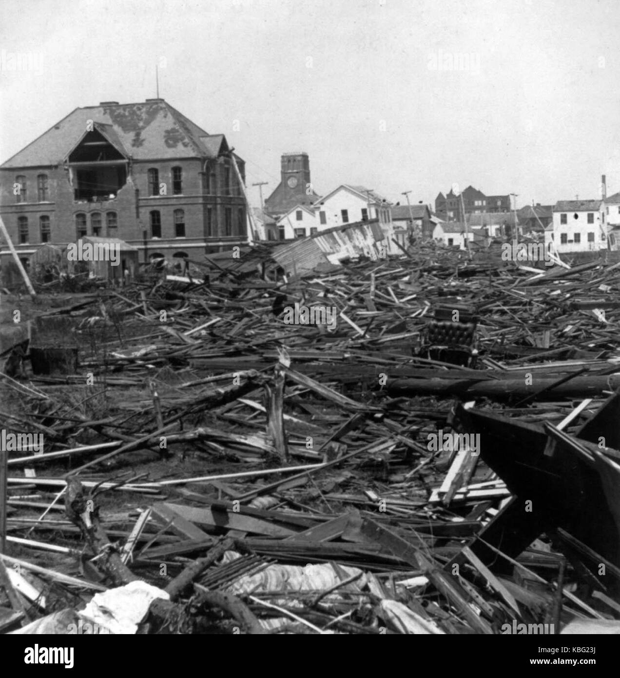 Wrecked Segregated High School building 1900 Galveston hurricane - Stock Image