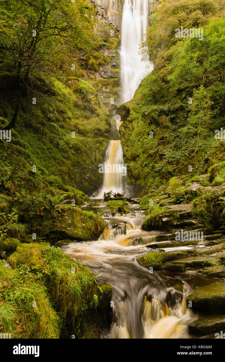 Pistyll Rhaeadr waterfall in Llanrhaeadr ym Mochnant Powys one of the Seven Wonders of Wales and a Site of Special - Stock Image