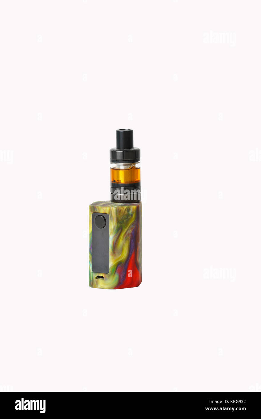 E-cigarette or vaping device on white background - Stock Image