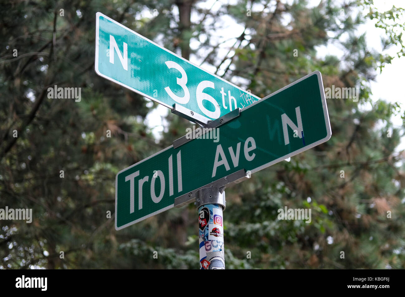 Troll Ave N, where the Fremont Troll is situated in the Fremont area of Seattle, Washington, USA. - Stock Image