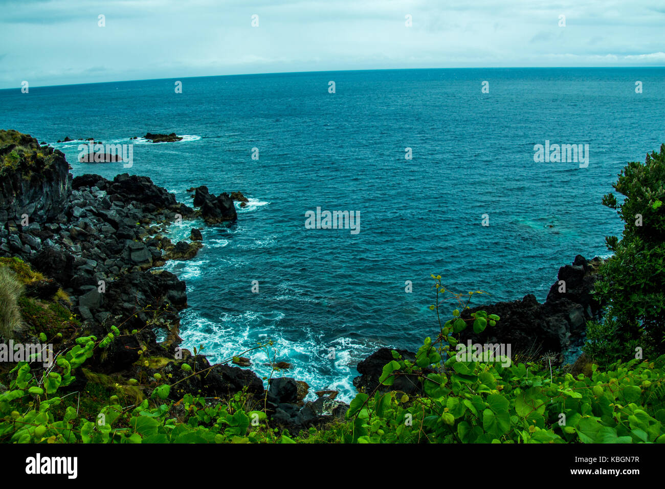 Azores islands belong to Portugal, this is the beautiful ocean that surrounds the Azores islands, photograph with - Stock Image