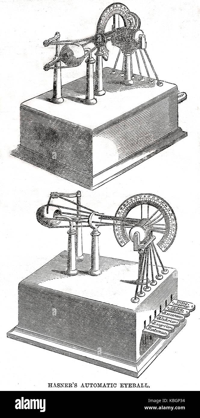 Joseph Hasner's Automatic Eyeball machine of 1862 - Stock Image