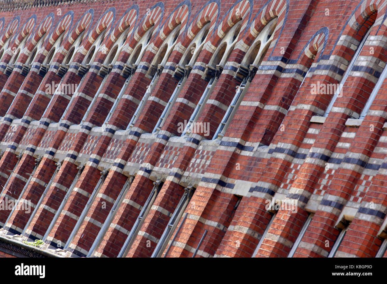 Colourful victorian brickwork in Hockley, Birmingham. - Stock Image