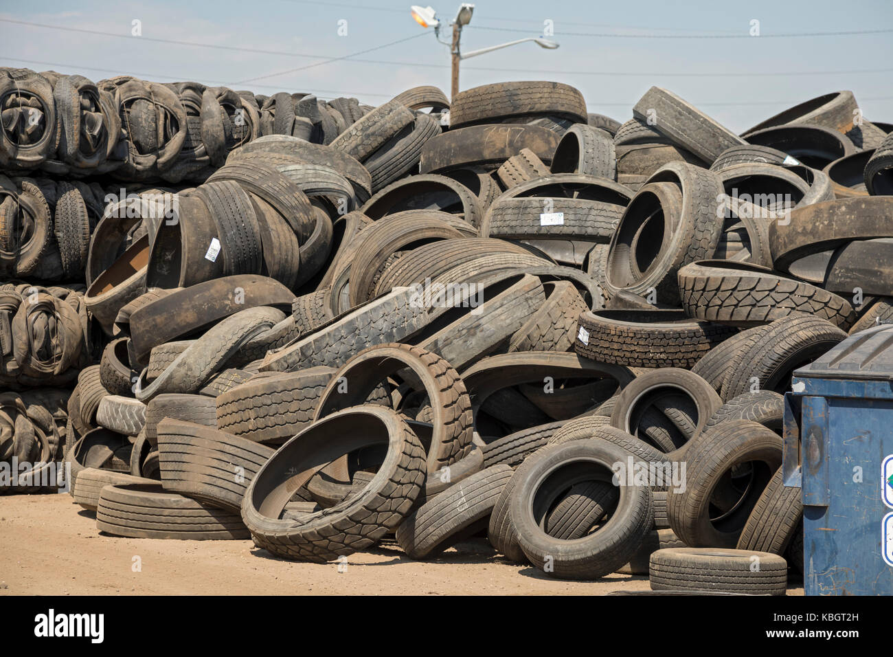 Denver, Colorado - Used tires piled up at Colorado Tire Recycling. - Stock Image