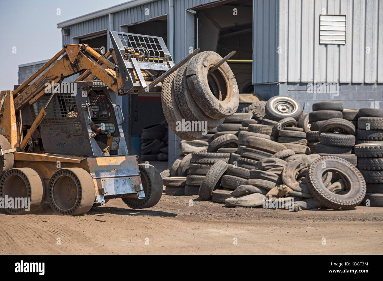 Denver, Colorado - Used tires at Colorado Tire Recycling. - Stock Image